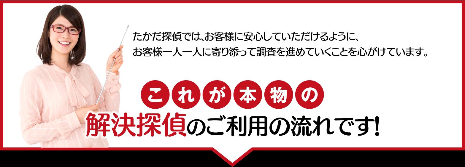 名古屋の解決探偵、高田幸枝調査事務所これが本物の解決探偵のご利用の流れです!