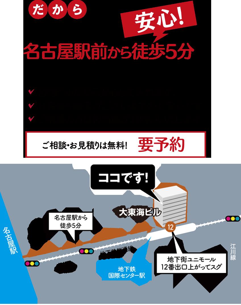 探偵選びは慎重に。名古屋駅前から徒歩5分の当探偵社でのご相談が安心です。