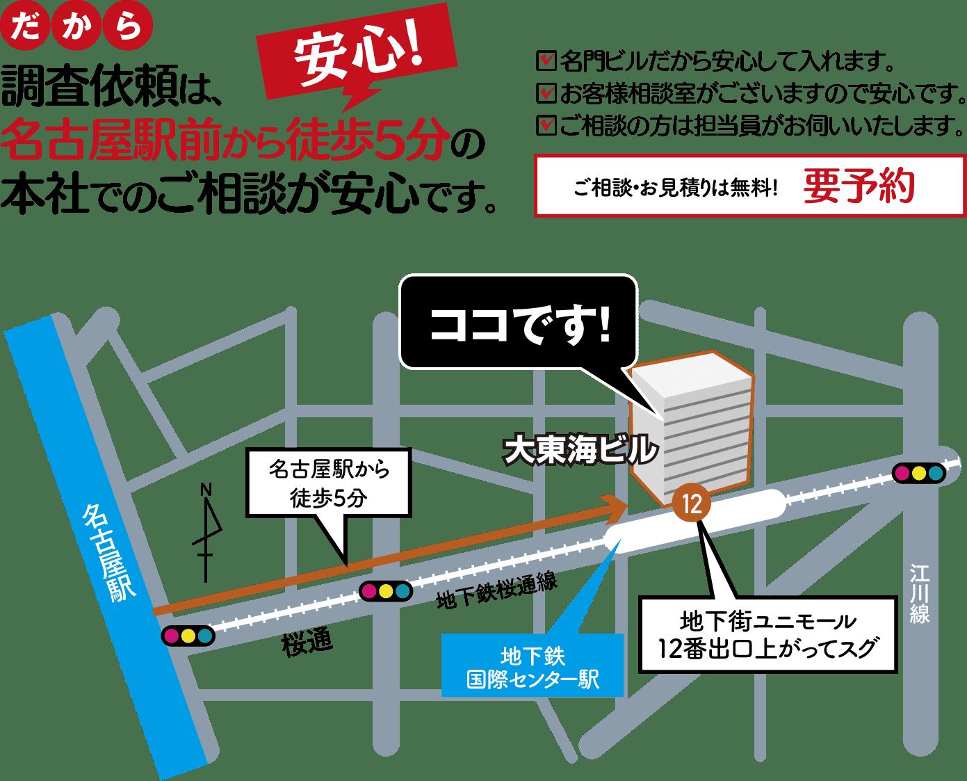 名古屋の解決探偵、高田幸枝調査事務所調査依頼は名古屋駅前から徒歩5分の本社でのご相談が安心です